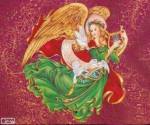 Puzzle de Ángel tocando el arpa para celebrar la Navidad