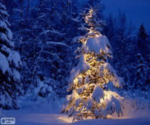 Puzzle de Árbol navideño nevado