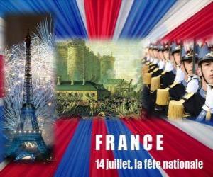 Puzzle de 14 de Julio, la fiesta nacional francesa en conmemoración de la toma de la Bastilla el 14 de julio de 1789