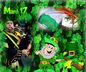 Puzzle de 17 de marzo. Día de San Patricio es la celebración de la cultura irlandesa. Tréboles usados como un símbolo de Irlanda