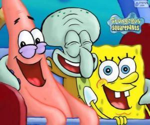 Puzzle de Bob Esponja y sus amigos, Patricio Estrella y Calamardo Tentáculos