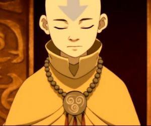 Puzzle de Aang es un niño de 12 años que ha pasado 100 años congelado en un iceberg junto a su bisonte volador