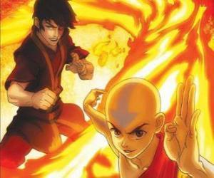 Puzzle de Aang y Zuko luchando