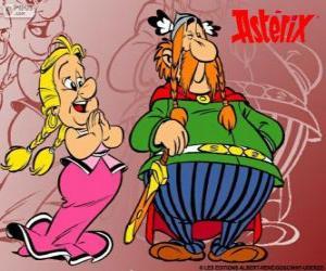 Puzzle de Abraracúrcix, el jefe de la aldea gala junto a su mujer Karabella