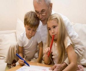 Puzzle de Abuelo con sus nietos