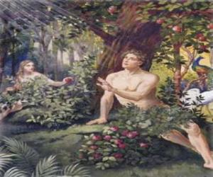Puzzle de Adán y Eva en el paraíso