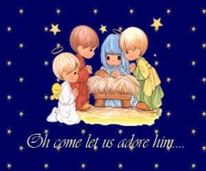 Puzzle de Adorando al Niño Jesús. Precious Moments