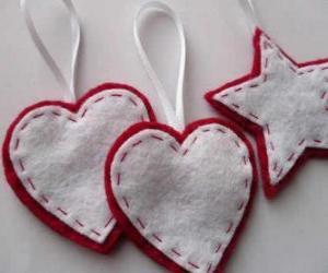 Puzzle de Adornos de Navidad en forma de corazones y estrella