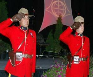 Puzzle de Agente de policía de la Policía Montada del Canadá o Royal Canadian Mounted Police