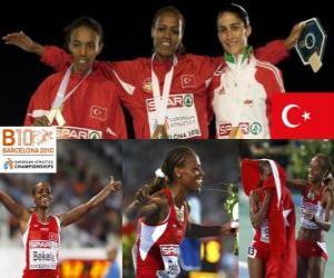 Puzzle de Alemitu Bekele campeona en 5000 m, Elvan Abeylegesse y Sara Moreira (2ª y 3era) de los Campeonatos de Europa de atletismo Barcelona 2010