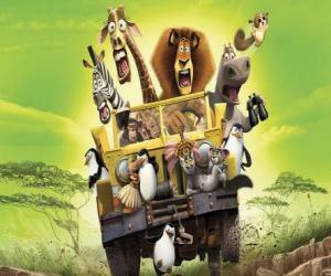 Puzzle de Alex el león conduciendo un jeep junto a sus amigos Gloria, Melman, Marty y otros protagonistas de las aventuras