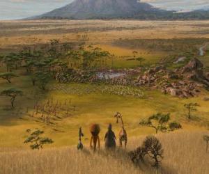 Puzzle de Alex, Marty, Melman, Gloria observan las inmensas llanuras africanas