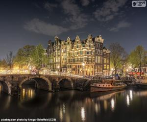 Puzzle de Amsterdam de noche, Países Bajos
