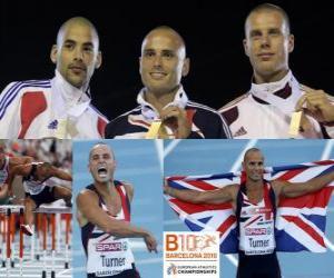 Puzzle de Andy Turner campeón de 110 m vallas, Garfield Darien y Dániel Kiss (2º y 3ero) de los Campeonatos de Europa de atletismo Barcelona 2010