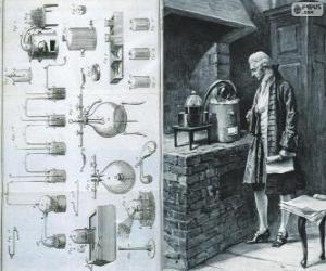 Puzzle de Antoine Lavoisier (1743 - 1794), químico francés, considerado el creador de la química moderna