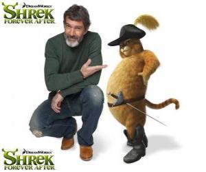 Puzzle de Antonio Banderas pone la voz a el Gato con Botas, en la última película Shrek felices para siempre o Shrek para siempre