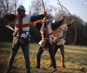 Puzzle de Arqueros, soldados medievales armados con un arco