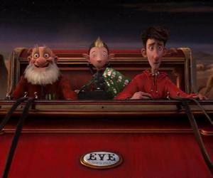Puzzle de Arthur Christmas, Abuesanta y Bryony en el viejo trineo dispuestos a repartir el ultimo regalo