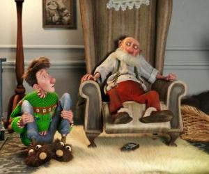 Puzzle de Arthur Christmas junto a su abuelo