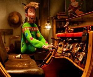 Puzzle de Arthur Christmas observando el viejo trineo
