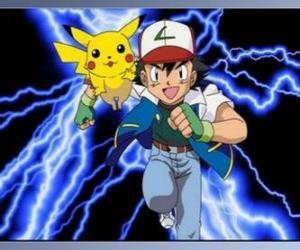 Puzzle de Ash, entrenador de pokémon, con su primer Pokémon Pikachu
