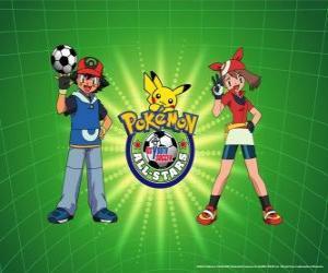 Puzzle de Ash, May y Pokémon