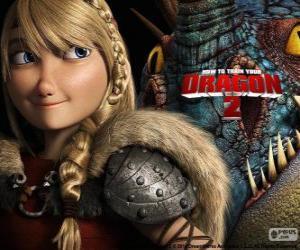 Puzzle de Astrid con su dragón alado Tormenta, Cómo entrenar a tu dragón 2