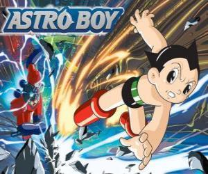 Puzzle de Astro volando gracias a sus superpoderes, sus piernas transformadas en cohetes