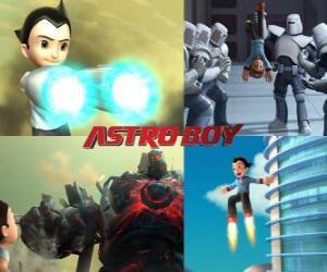 Puzzle de AstroBoy o Astro Boy, luchando contra sus enemigos