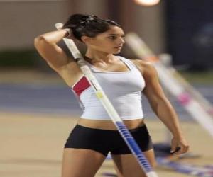 Puzzle de Atleta preparándose para un salto con pértiga