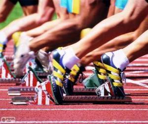Puzzle de Atletas preparados para la salida