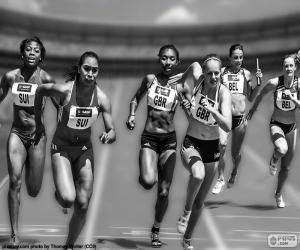 Puzzle de Atletismo, carrera relevos