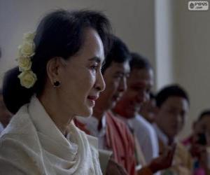 Puzzle de Aung San Suu Kyi política y activista birmana
