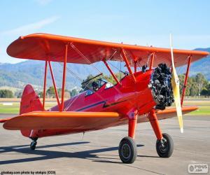 Puzzle de Avión biplano rojo