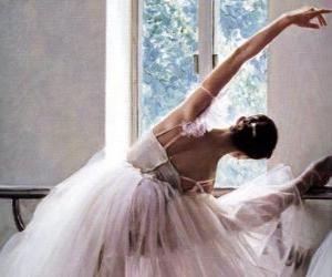 Puzzle de Bailarina practicando con la barra