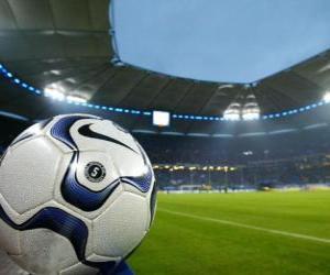 Puzzle de Balón en un estadio de futbol