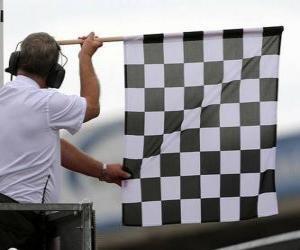 Puzzle de Bandera a cuadros, esta bandera se muestra al final de la carrera