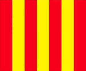 Puzzle de Bandera amarilla con franjas rojas para avisar a los conductores que la pista está resbaladiza