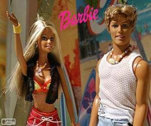 Puzzle de Barbie y Ken en verano
