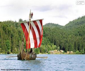 Puzzle de Barco vikingo con remeros