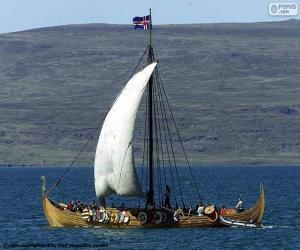 Puzzle de Barco vikingo navegando