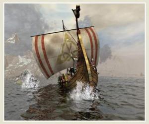 Puzzle de Barco vikingo o drakkar con la vela hinchada por el viento