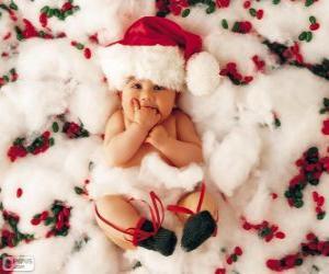Puzzle de Bebé con el gorro de Papá Noel