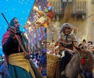 Puzzle de Befana es una anciana sonriente que vuela en una escoba llevando dulces o carbón a los niños en Italia