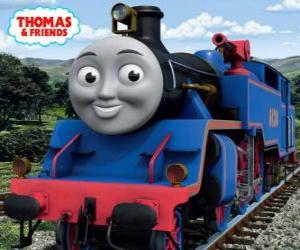 Puzzle de Belle, la locomotora grande y valiente de color azul tiene dos cañones de agua para apagar incendios