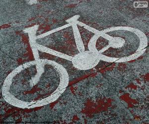 Puzzle de Bicicleta pintada, señal
