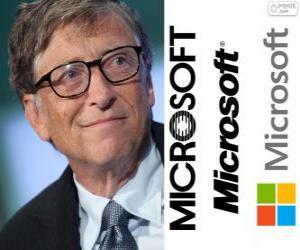 Puzzle de Bill Gates, empresario y informático estadounidense, cofundador de la empresa de software Microsoft