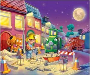 Puzzle de Bob y sus amigos trabajano de noche reparando una calle de la ciudad