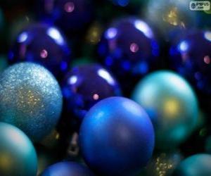 Puzzle de Bolas de Navidad azules