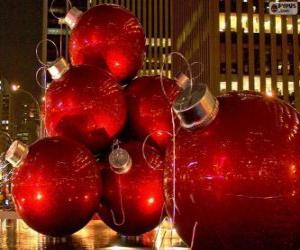 Puzzle de Bolas de Navidad, rojas